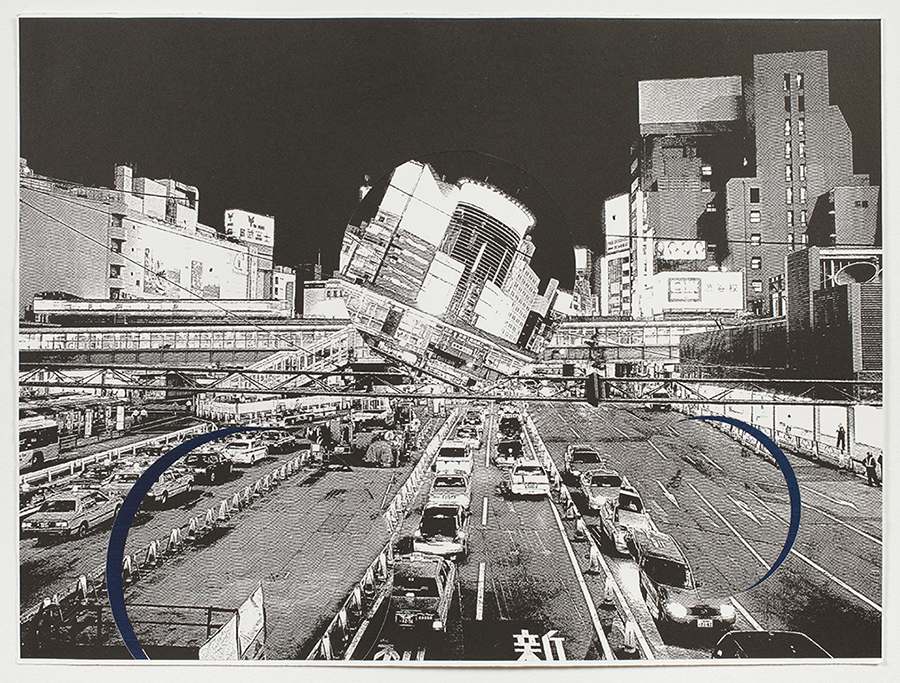 "Shinsuke Minegishi, Fragility – Metropolis, 2013, lithography and collage on paper, 15"" x 20"", edition of 4."
